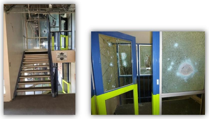 Two images - figure 3 shows a stairwell with broken door glass, wiring hanging from the ceiling. Figure 4 shows broken glass in a door