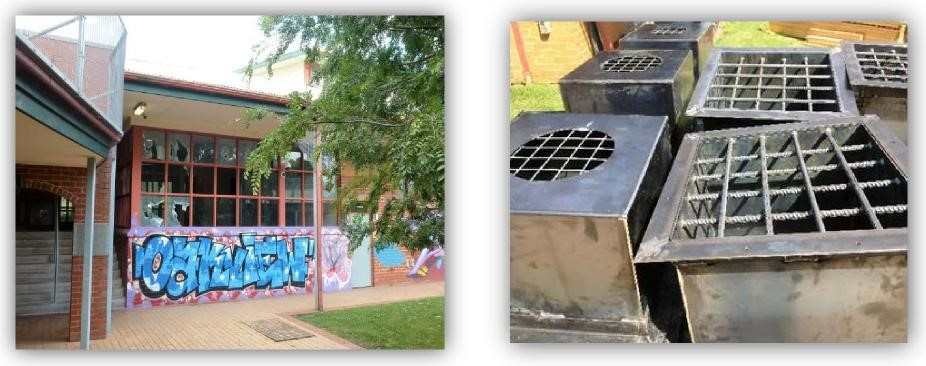 Figure 5: image taken outside showing graffiti on a brick wall underneath a large window with multiple broken panes. Figure 6:new steel vent covers